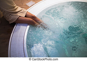 Modern jacuzzi bath in wellness spa resort