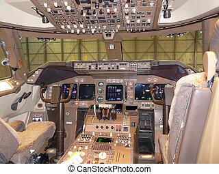modern jet cockpit - modern empty jet flightdeck