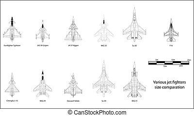 Modern jet fighters - High detail vector illustration of...