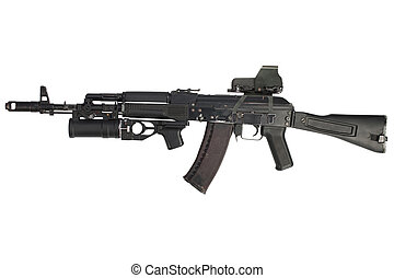 modern kalashnikov AK 74M assault rifle with holographic weapon sight and underbarrel grenade launcher isolated on white