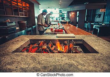 modern, kandalló, étterem