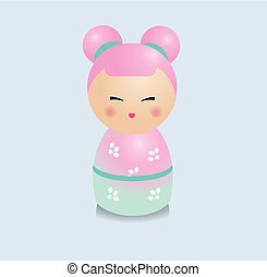 Modern kawaii kokeshi figure. Traditional japanese dolls in realistic style.