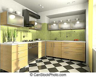 modern, kilátás, konyha