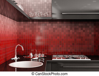 Modern kitchen 3d render - Modern black kitchen over the red...