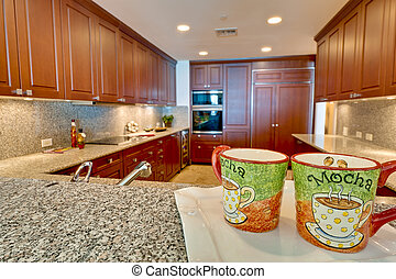 Modern Kitchen and Cup of Coffee