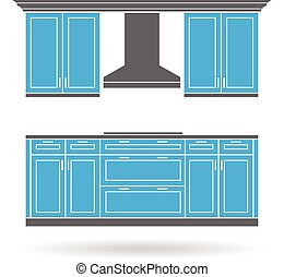 Modern kitchen cabinets with cooktop color design