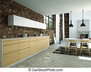 kitchen - modern kitchen in a loft, 3d rendering