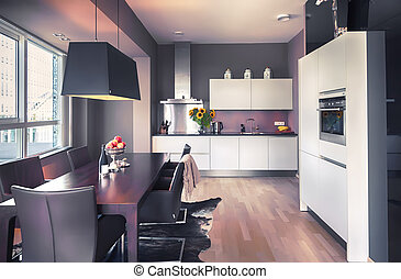 modern kitchen in living room