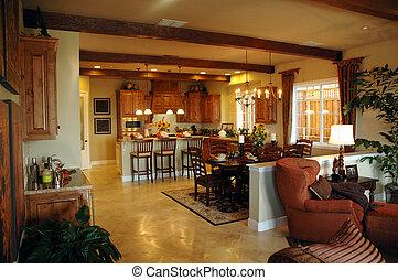 Modern kitchen in new development in Northern California Modern living room setting