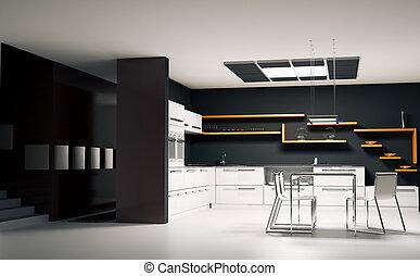 Modern kitchen interior 3d render - Interior of modern...