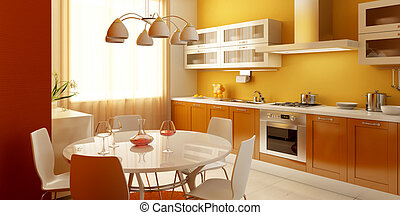 modern kitchen interior 3d rendering