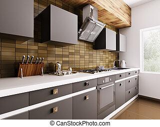 Modern kitchen interior 3d - Modern kitchen with sink,gas...