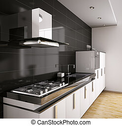 Modern kitchen interior 3d - Modern kitchen with sink, gas...