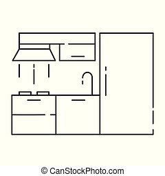 Modern kitchen interior design - outline vector illustration