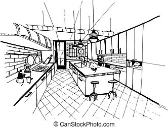 Modern kitchen interior in loft style. Hand drawn sketch illustration.