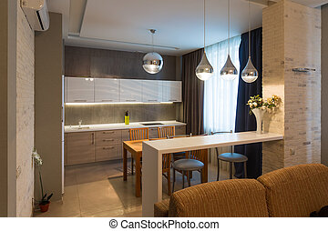 Modern kitchen interior in new luxury home, apartment