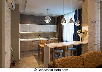 Modern kitchen interior in new luxury home, apartment