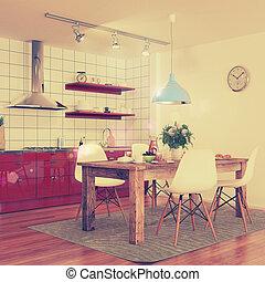 modern kitchen interior - shot 30 - retro style