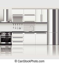 Modern kitchen interior vector background - Modern kitchen...