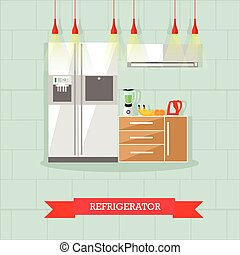 Modern kitchen interior. Vector illustration in flat style. Room furniture