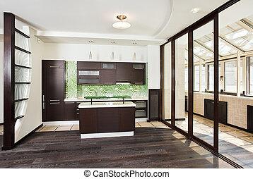 Modern Kitchen interior with balcony - Modern kitchen...