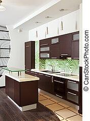 Modern Kitchen interior with hardwood furniture