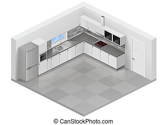 Modern kitchen isometric - Modern white kitchen in isometric...