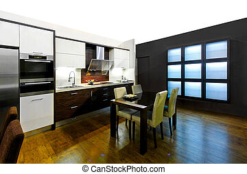 Modern kitchen - Large modern kitchen and dinning room area...