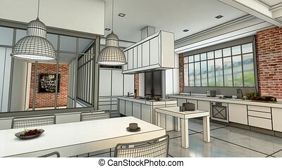 3D animation of a modern urban kitchen evolving from a wireframe rendering to a realistic color rendering