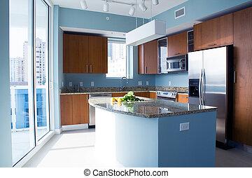 Modern kitchen - New modern kitchen interior with island in...