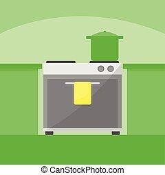 Modern Kitchen Stove Home Scene Illustration