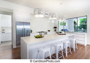 Stylish open plan kitchen overlooking the backyard