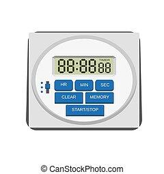 Modern kitchen timer icon, flat style