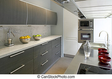 Modern kitchen - View of a domestic modern kitchen with...