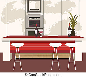 Modern kitchen with dining counter