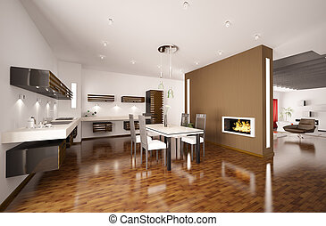 Interior of modern brown kitchen with fireplace 3d render