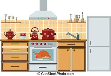 Modern kitchen with furniture