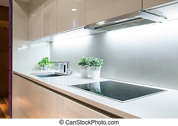 Modern kitchen with induction hob - Interior of modern...