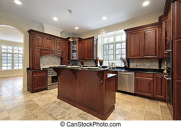Modern kitchen with island - Kitchen and island in new...
