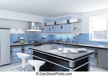 Modern kitchen with isle.