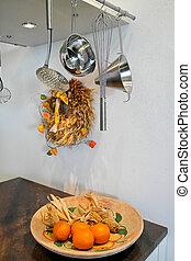 Modern kitchen with kitchenware
