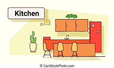 modern kitchen with plants in interior empty no people house room colorful sketch flow style horizontal vector illustration