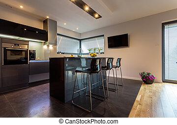Modern kitchen with steel elements - Modern luxury kitchen...
