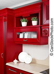 modern kitchen with stylish furniture