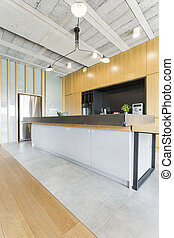 Modern kitchen with wooden furniture - Modern spacious...