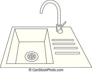 Modern Kitchen worktop with sink vector eps 10