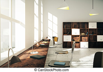 modern, klassenzimmer, mit, buecher, und, lampen, an, sonnenaufgang, 3d, render