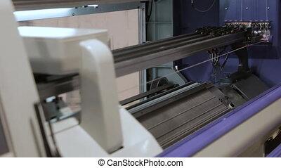 Modern Knitting Loom Machine On Weaving. Automated...