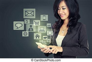 modern, kommunikáció, technológia, mobile telefon