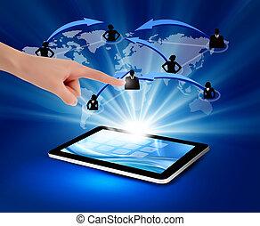 modern, kommunikation, technologieabbildung, mit, tablet.,...